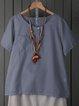 Cotton-Blend Short Sleeve Plain Shirts & Tops