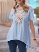 Blue Gray Cotton-Blend Short Sleeve Patchwork Shirts & Tops
