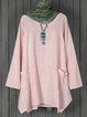 Shift Women Daily Linen Long Sleeve Casual Pockets Solid Fall Dress
