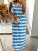 Plus Size Casual Striped Sleeveless Dresses