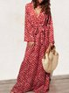 Plus Size Long Sleeve V-neck   Floral  Elegant Casual  Maxi  Dress