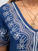 Blue Patchwork V Neck Short Sleeve Dresses