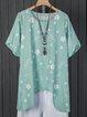 Floral Basic Round Neck Short Sleeve Shirts & Tops