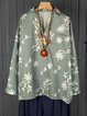Casual V Neck Long Sleeve  Floral  Printed Shirts & Blouse