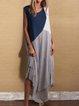 Plus Size Women Sleeveless Round Neck Vintage Color-block Casual Dresses