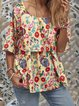 Multicolor Floral Cotton Half Sleeve T-Shirts