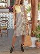 Floral Cotton-Blend Boho Round Neck Dresses