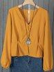 Brown Gathered Long Sleeve V Neck blouses