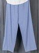 Plus Size Striped Pants Pockets Shift Casual Capri Pants