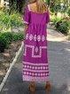 Plus Size Women Short Sleeve Vintage Floral Casual Dresses