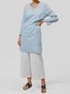 Folds Paneled Solid Long Sleeve V Neck Casual Paneled Blouses