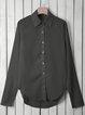Chiffon Stand Collar Solid Plus Size Shirt