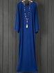 Shift Women Daily Batwing Cotton Basic Paneled Plain Fall Dress
