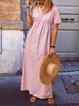 Plus Size Women Short Sleeve V Neck Vintage Holiday Floral Dresses