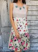 Sleeveless Floral-Print Casual Dresses