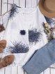 Floral Crew Neck Casual Floral-Print Blouses