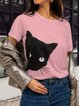 Women Printed Animal Round Neck Short Sleeve Casual T-Shirts