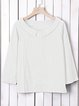 Peter Pan Collar Solid Plus Size Blouses