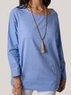 Plus Size Casual Solid Long Sleeve Tops