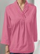 V Neck 3/4 Sleeve Simple & Basic Shirts & Tops