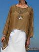 Silk-Chiffon See-through Look Beach 3/4 Sleeve A-Line Blouses