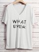 Casual Letters Printed V Neck T-Shirts