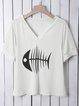 Fish Printed V Neck Shirts