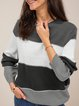 Color-block Pullovers Striped Shift Fall Winter Casual Sweater Chrismas Sweater Black Friday Cyber Monday