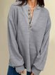 Plus Size Plain Buttoned Long Sleeve Casual Tops