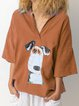 Cotton-Blend Short Sleeve Sweet Shirts & Tops