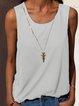 Summer Plain Cotton-Blend Solid Crew Neck Sleeveless Plus Size Tank