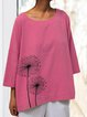 Women Plus Size Printed Floral 3/4 Sleeve Round Neck Blouses