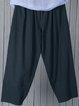Plus Size Crop Pants Women Solid Pockets Pants