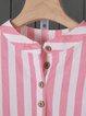 Striped Cotton Linen Stand Collar Plus Size Shirt