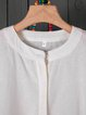 Buttoned Long Sleeve Vintage Crew Neck Blouses