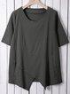 Half Sleeve Irregular Plus Size Blouses Asymmetrical Hem Shirts