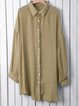 Buttoned Paneled Shirt Collar Long Sleeve Casual Blouses