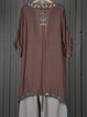 Brown Shift Women Batwing Casual Slit Tribal Summer Dress