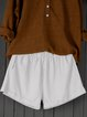 Summer Shorts Pockets Elastic-waist Casual Shorts