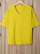 Plus Size V Neck Pure Color Summer Simple T-Shirts