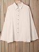 Plus Size Plain Shirt Collar Buttoned Long Sleeve Blouses