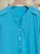Plain Buttoned Daytime V Neck Cotton-Blend Dresses