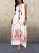 White Women Daily Casual Sleeveless Cotton-blend Printed Floral Summer Dress
