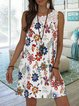 Summer Floral Casual Holiday Crew Neck Sleeveless Paneled Printed Dress