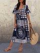 Square Neck Polka Dot Plus Size Maxi Dresses