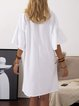 Crew Neck Women Dresses Shift Cotton Plain Dresses