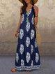 Printed Elegant Sleeveless Printed  Dresses