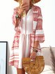 V neck Red Women Beach Boho Bell Sleeve Solid Summer Dress