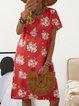 V Neck Women Dresses Shift Cotton-Blend Floral Dresses