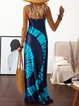 Spaghetti Women Dresses Going Out Cotton Ombre/tie-Dye Dresses